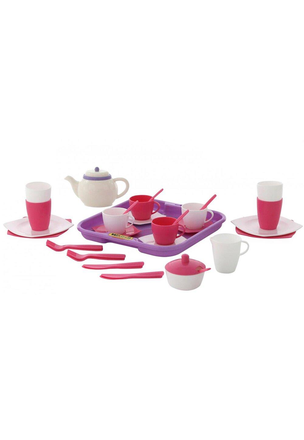 Set ceai, 35 piese, alb cu roz imagine
