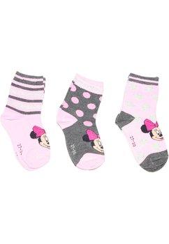 Set de 3 sosete Minnie Mouse roz deschis