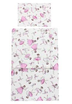Set lenjerie, Prichindel, flanel, 3 piese, balerina roz,120x60 cm