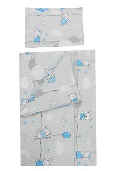 Set lenjerie, Prichindel, flanel, 3 piese, Ursuleti si iepurasi,120x60 cm