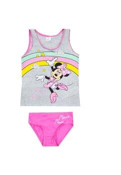Set maieu+chilot, Minnie Mouse, stelute gri cu roz