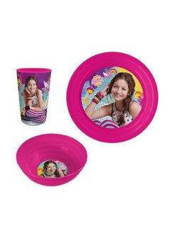 Set mic dejun, plastic, 3 piese, Soy Luna, roz