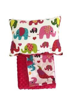 Set perna si paturica, minky roz inchis cu elefantei