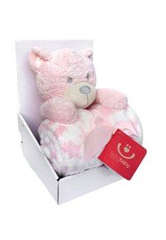 Set ursulet cu paturica, roz cu stelute