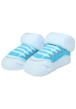 Sosete bebe, alb cu albastru