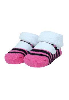 Sosete bebe, alb cu roz