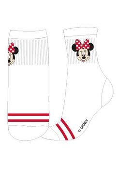 Sosete, Minnie Mouse, albe cu dungi rosii