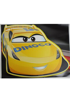 Sticker, pentru perete, Fulger McQueen, Dinoco, galben