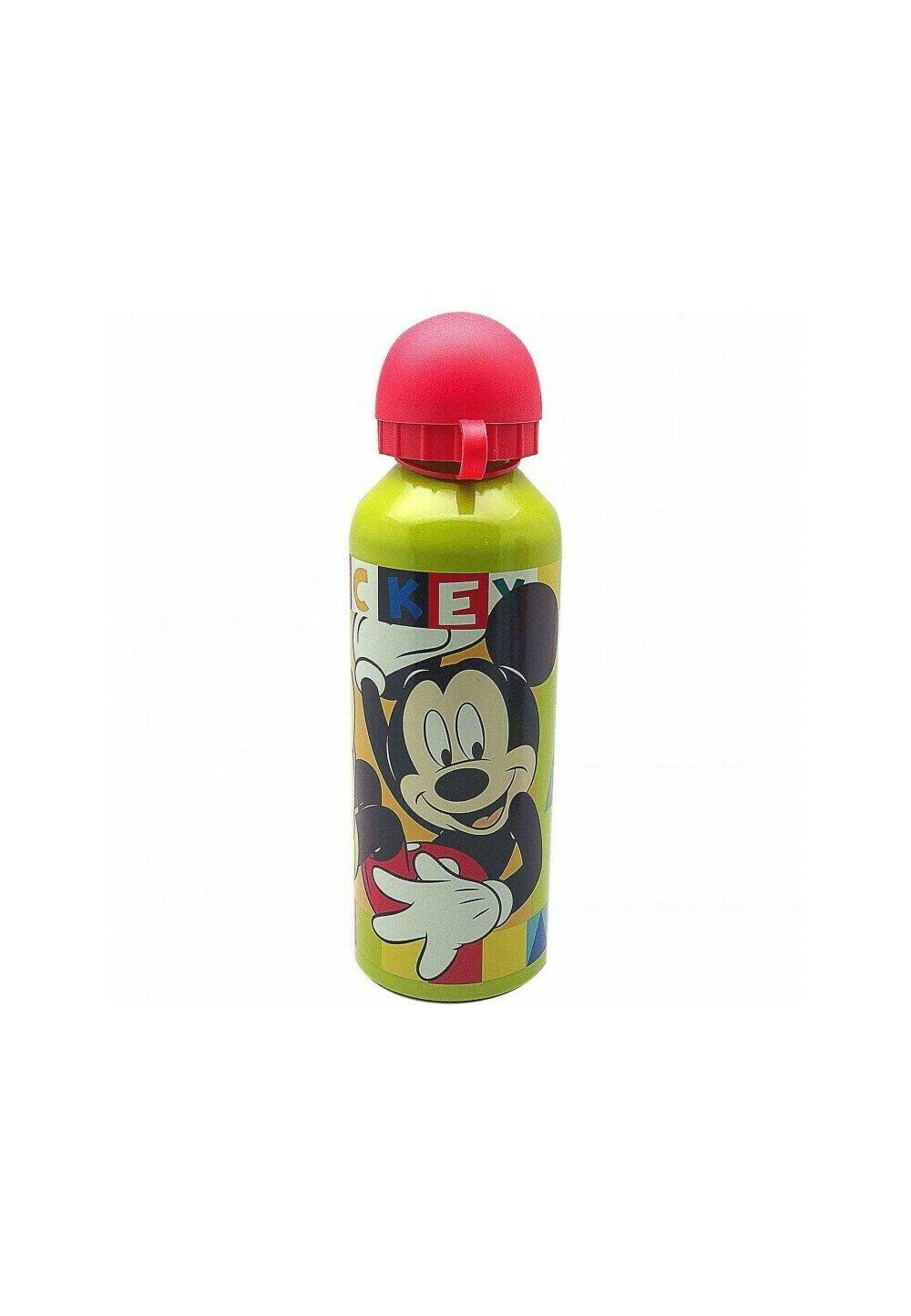Sticla de aluminiu, Hey Mickey, galbena cu capac rosu imagine