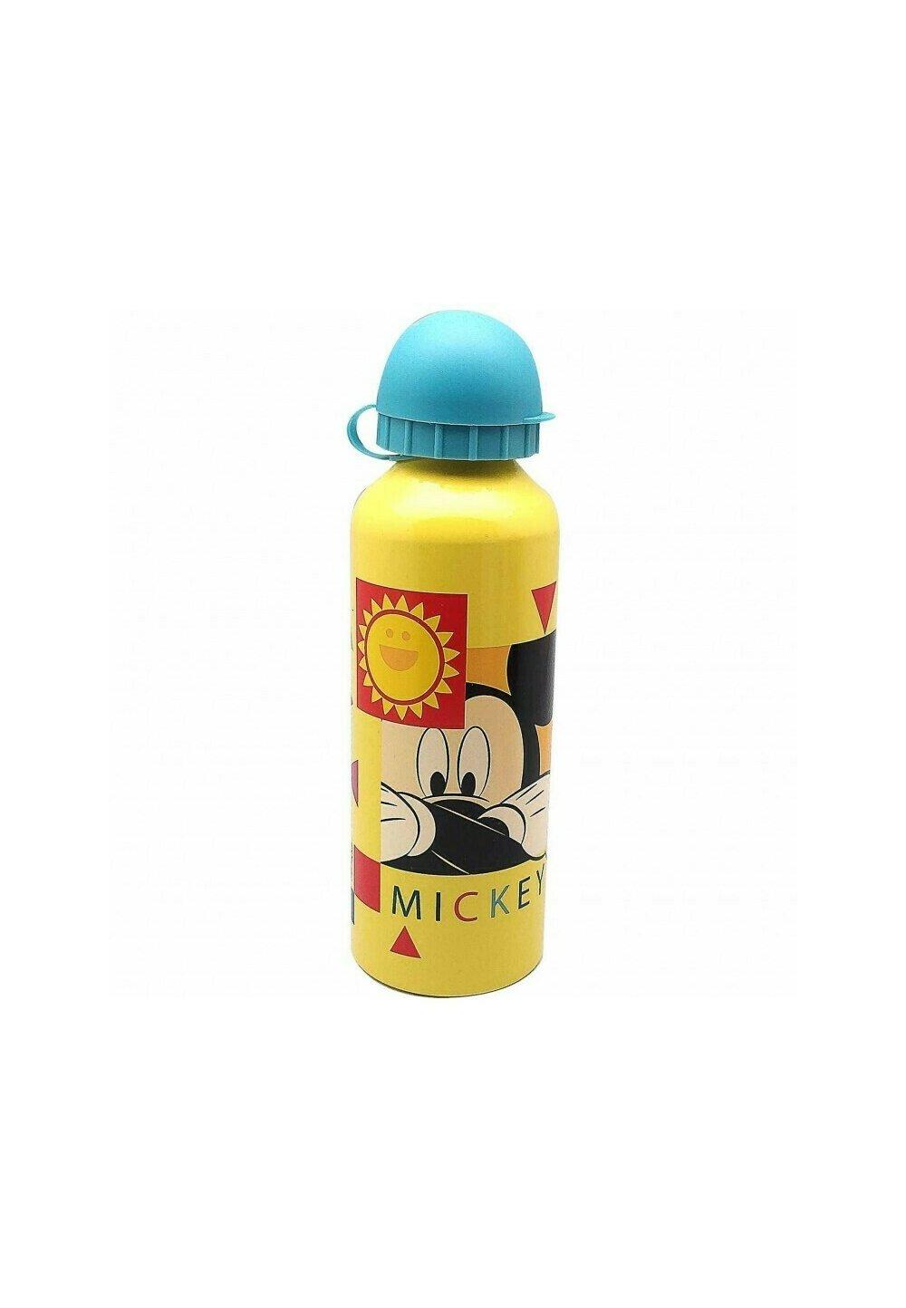 Sticla de aluminiu, Hey Mickey, galbena cu capac turcoaz imagine