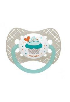 Suzeta Canpol cu tetina din silicon, 0-6 luni, cupcake gri