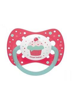 Suzeta Canpol cu tetina din silicon, 0-6 luni, cupcake roz