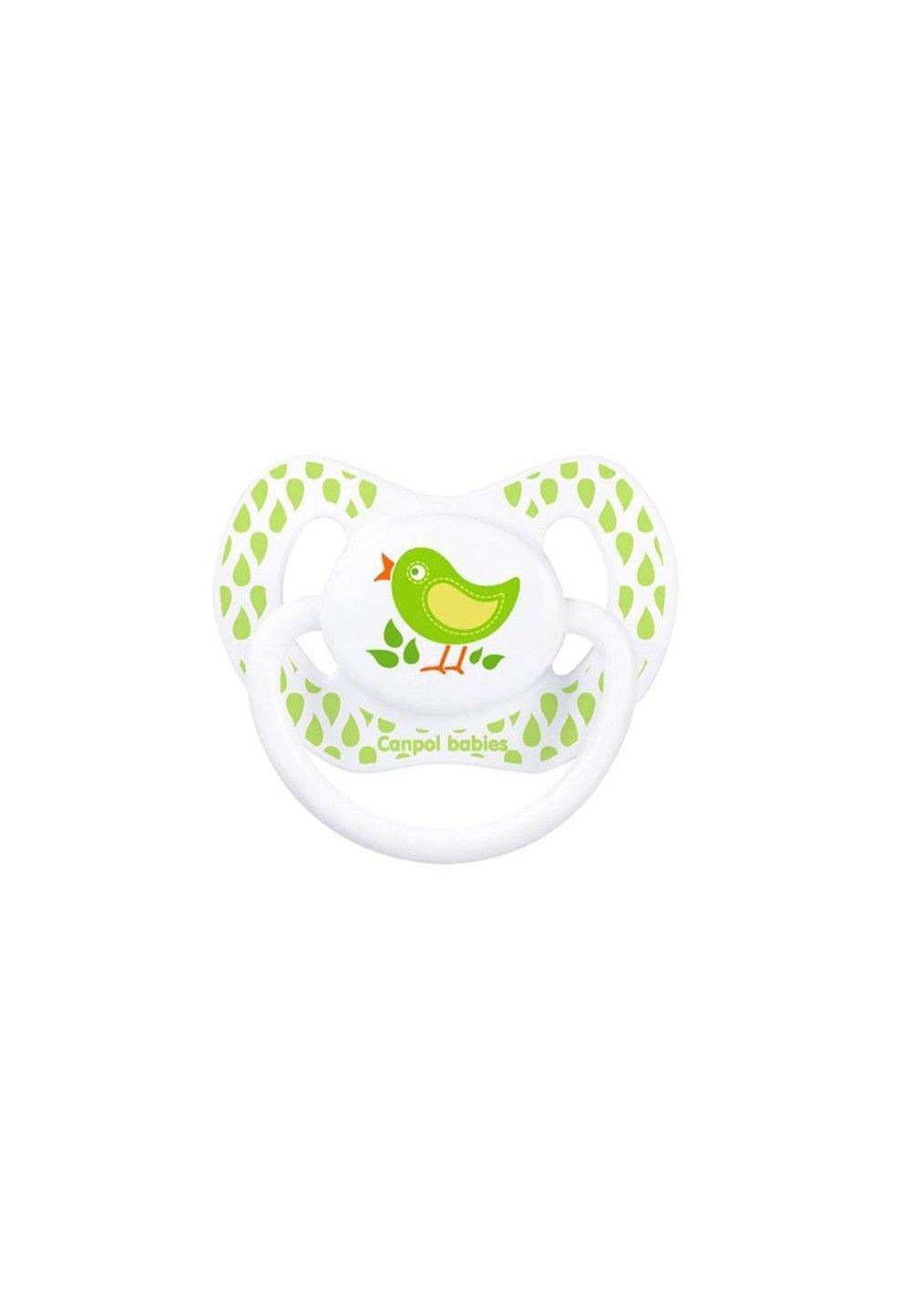 Suzeta Canpol cu tetina din silicon, 0-6 luni, verde imagine