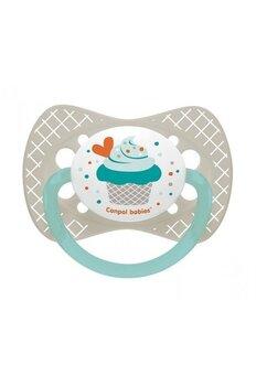 Suzeta Canpol cu tetina din silicon, +18 luni, cupcake gri