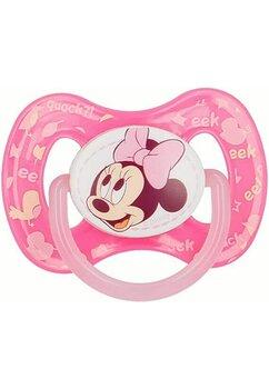Suzeta cu tetina din silicon, roz, Minnie Mouse, +6 luni