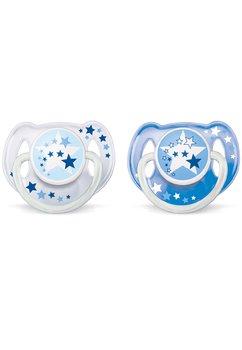 Suzeta Philips Avent Night Time, 6-18 luni, albastru