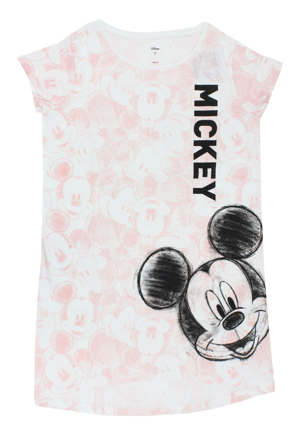 Tricou adulti, bumbac, Mickey Mouse, asimetric, roz