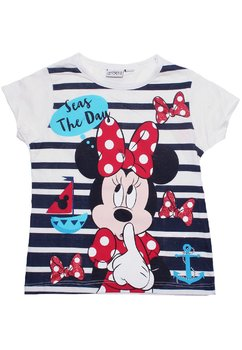 Tricou alb cu dungi bluemarin, Minnie Mouse