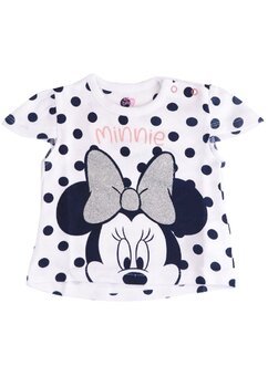 Tricou bebe, Minnie Mouse, alb cu buline bluemarin