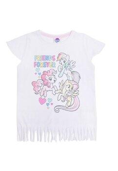 Tricou cu franjuri, Frends for ever, Pony, alb