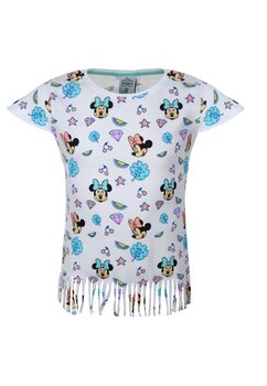 Tricou cu franjuri, Minnie Mouse, alb cu turcoaz