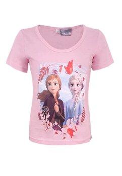 Tricou fete, Ana si Elsa, roz deschis