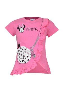 Tricou fete, Minnie, roz cu gentuta si ochelari