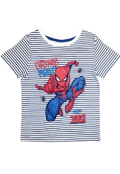 Tricou, Spider, Crime fighted, alb cu bleumarin