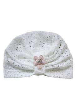 Turban, botez, alb din dantela, floricica