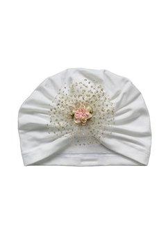 Turban, botez, crem cu floare roz
