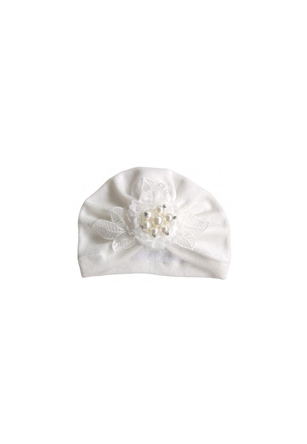 Turban catifea, ivory, cu floricica imagine