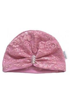 Turban, cu dantela si margele, roz