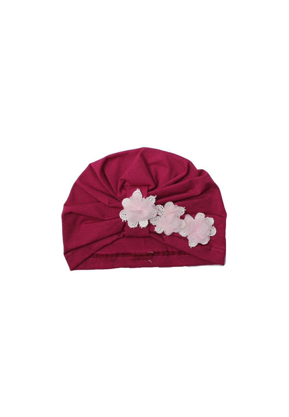 Turban, roz inchis cu trei floricele imagine