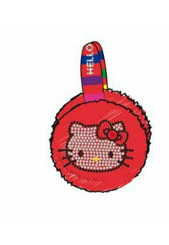 Urechi Hello Kitty, rosii cu dungi colorate