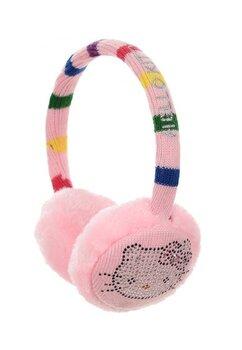 Urechi Hello Kitty, roz cu dungi colorate