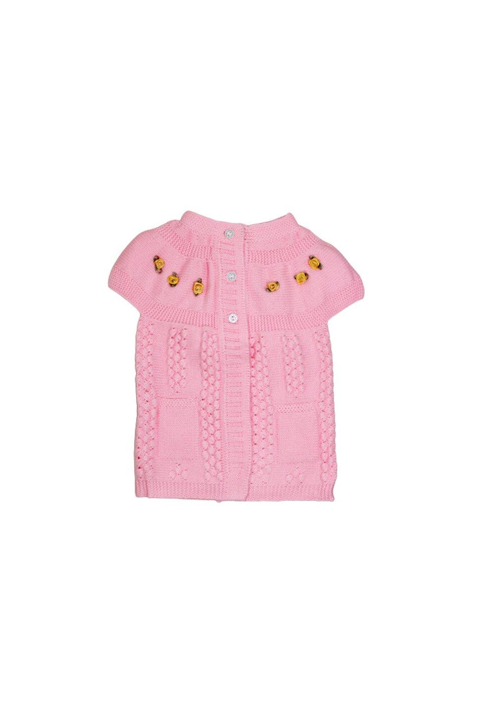Vesta tricota, roz cu floricele