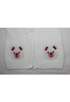 Vesta tricotata, alba cu ursulet