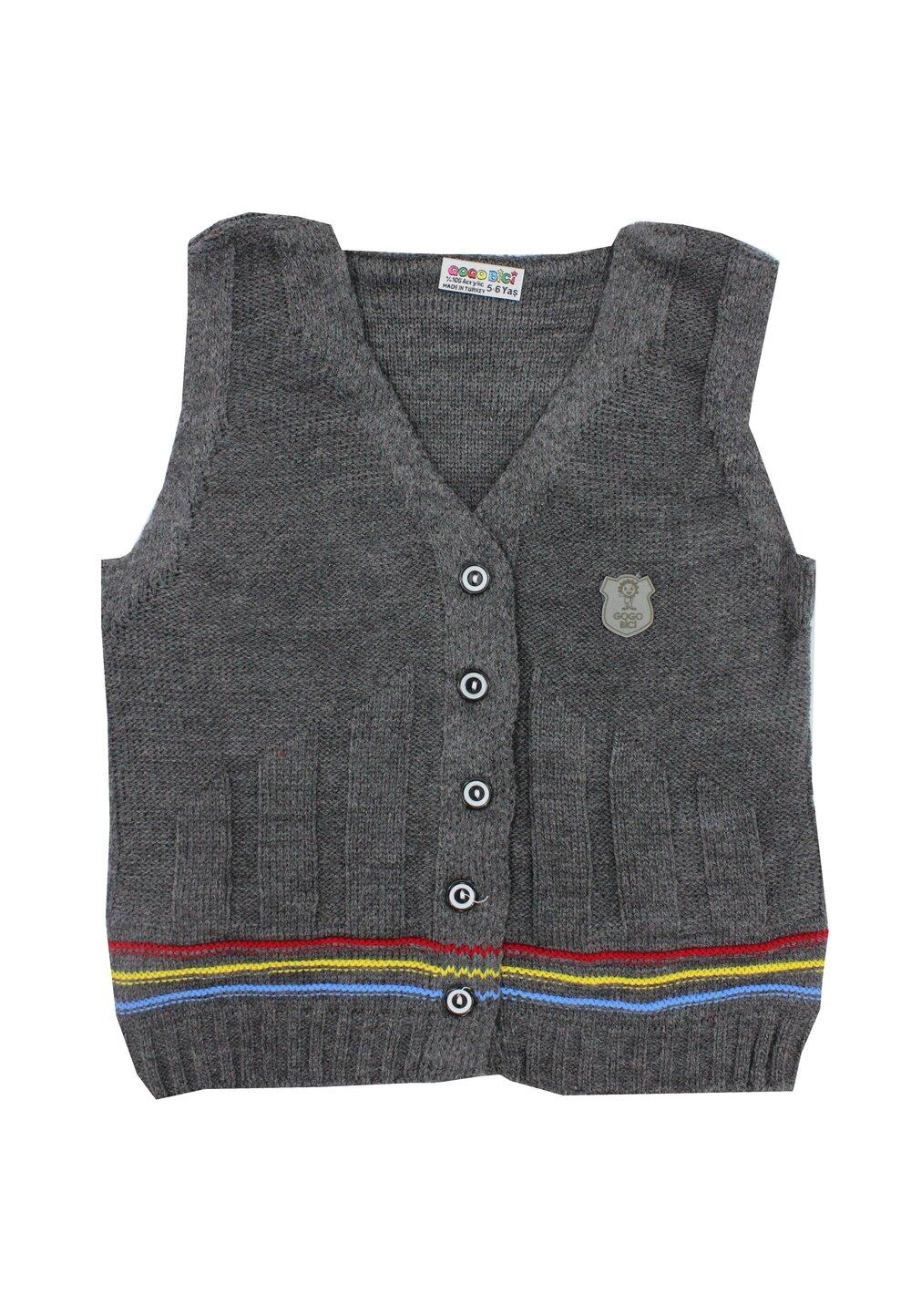 Vesta tricotata, gri cu dungi colorate