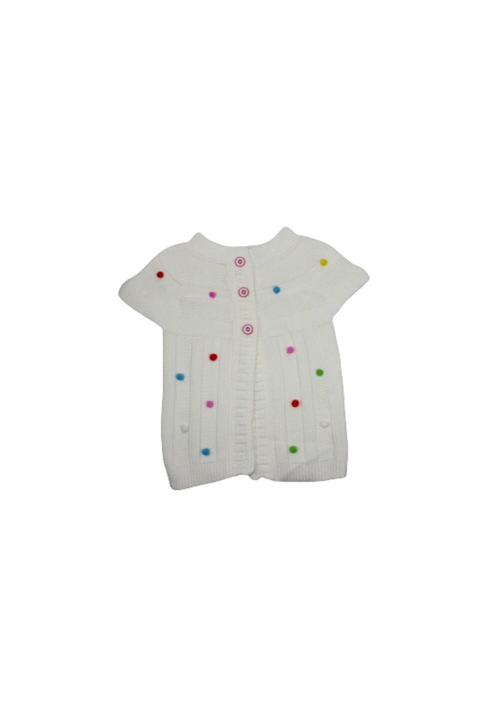 Vesta tricotata, ivory cu buline colorate