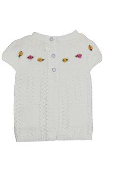 Vesta tricotata, ivory cu floricele