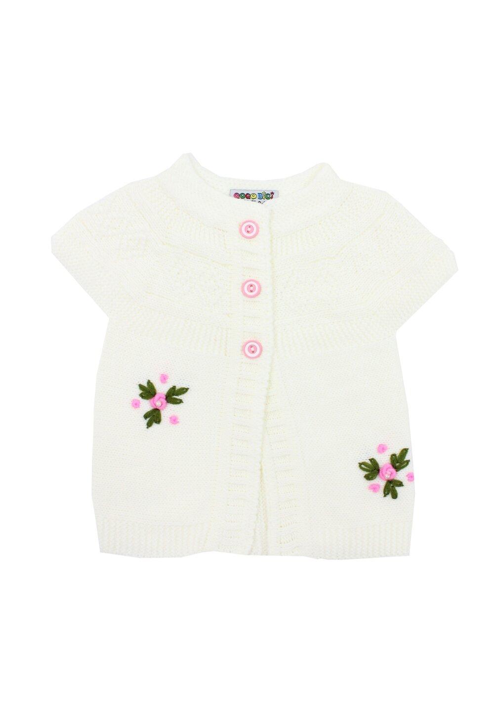 Vesta tricotata, ivory cu floricele roz