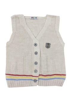 Vesta tricotata, maro cu dungi colorate