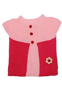 Vesta tricotata, roz cu floricica