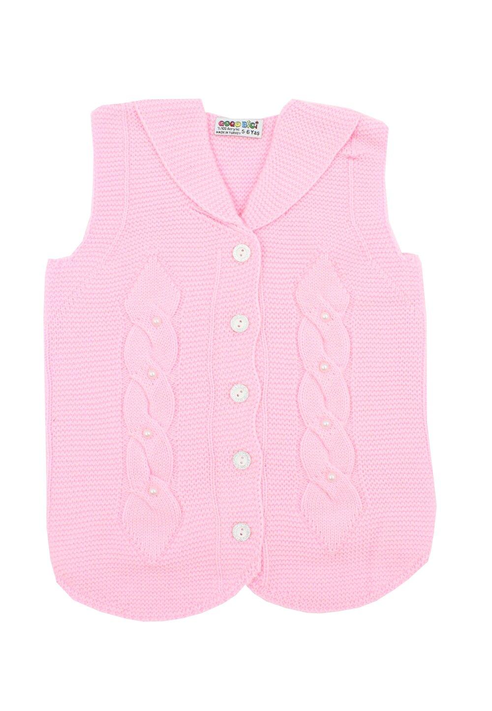 Vesta tricotata, roz deschis cu perle