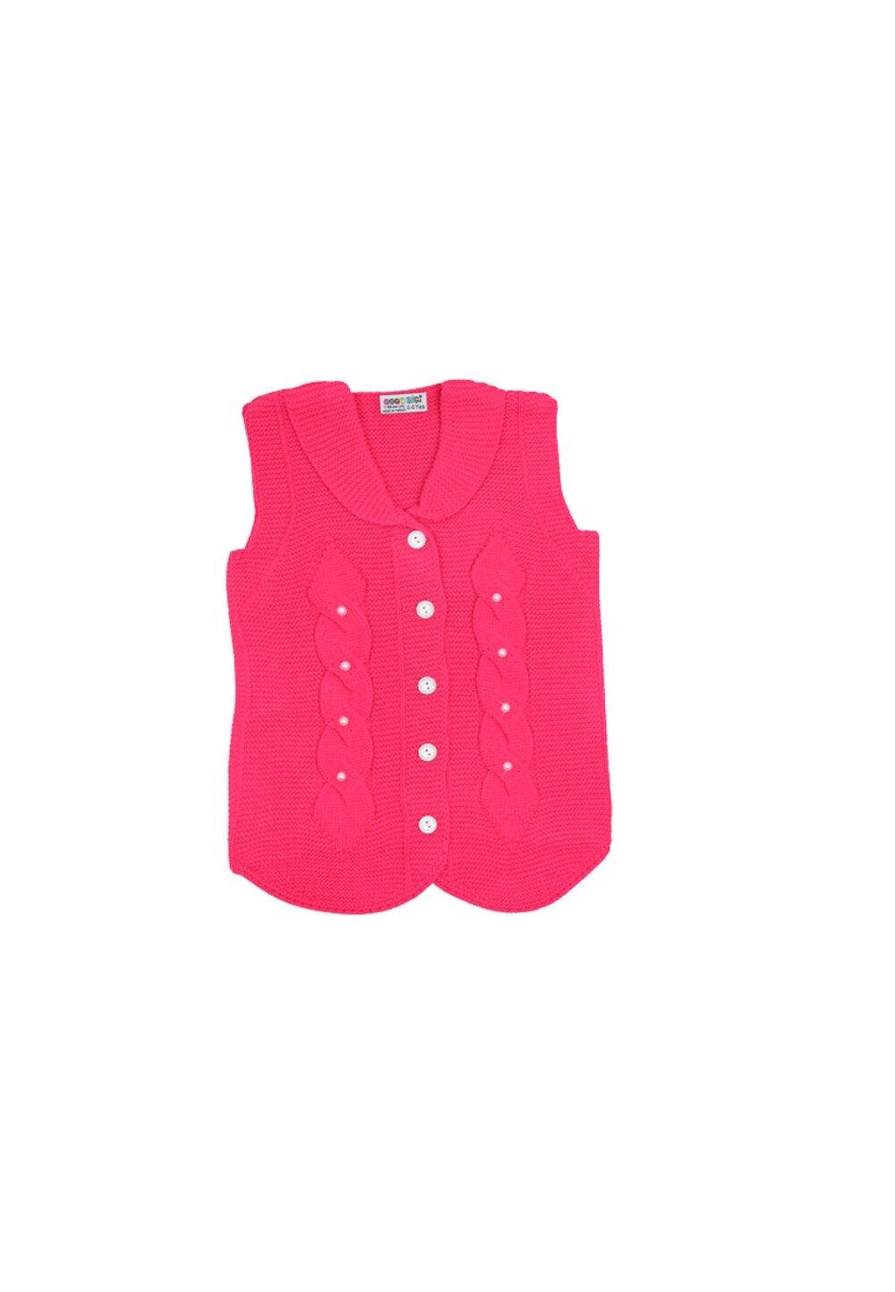 Vesta tricotata, roz inchis cu perle