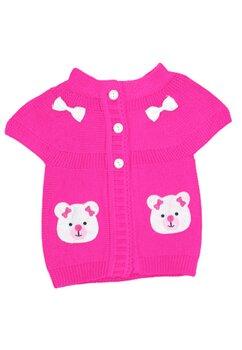Vesta tricotata, roz inchis cu ursulet
