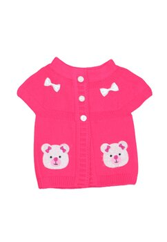 Vesta tricotata, roz, ursulet cu fundita