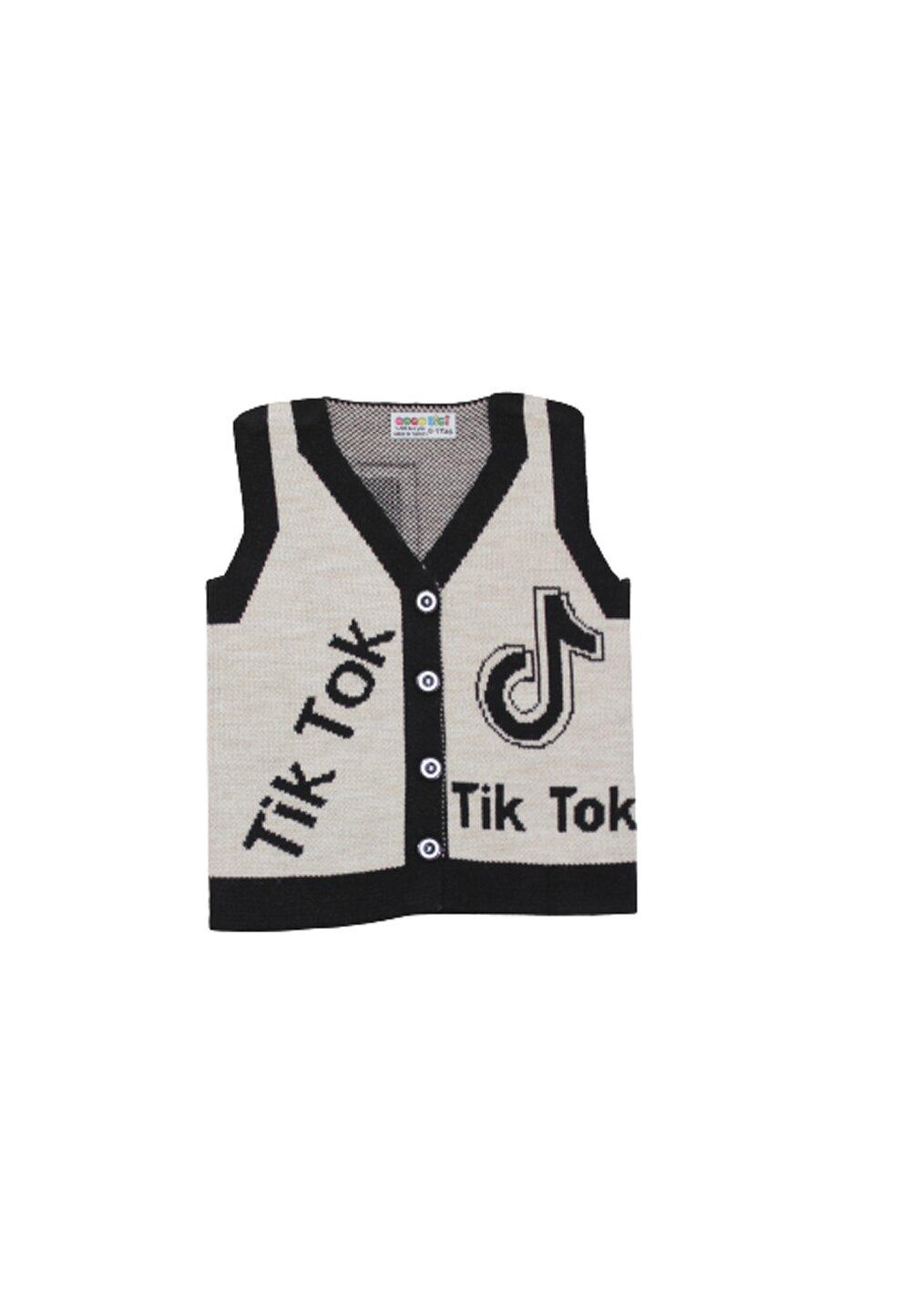Vesta tricotata, Tik Tok, crem cu negru