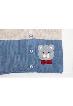 Vesta tricotata, Ursulet cu fundita, albastru cu crem