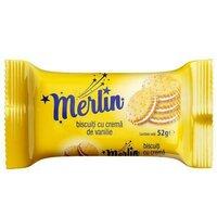 Biscuiti Merlin crema vanilie 52g